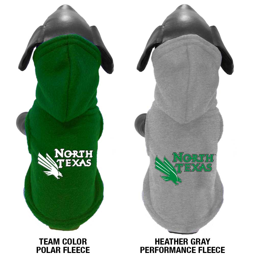 All Star Dogs NCAA North Texas Mean Green Polar Fleece Hooded Dog Sweatshirt